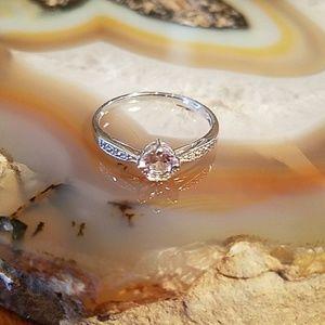 Diamond & Peach Beryl Silver ring, sz 6.5, NWOT